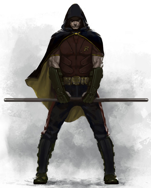 for images of Robin with hood and without the hood over his headRobin Arkham City Hood