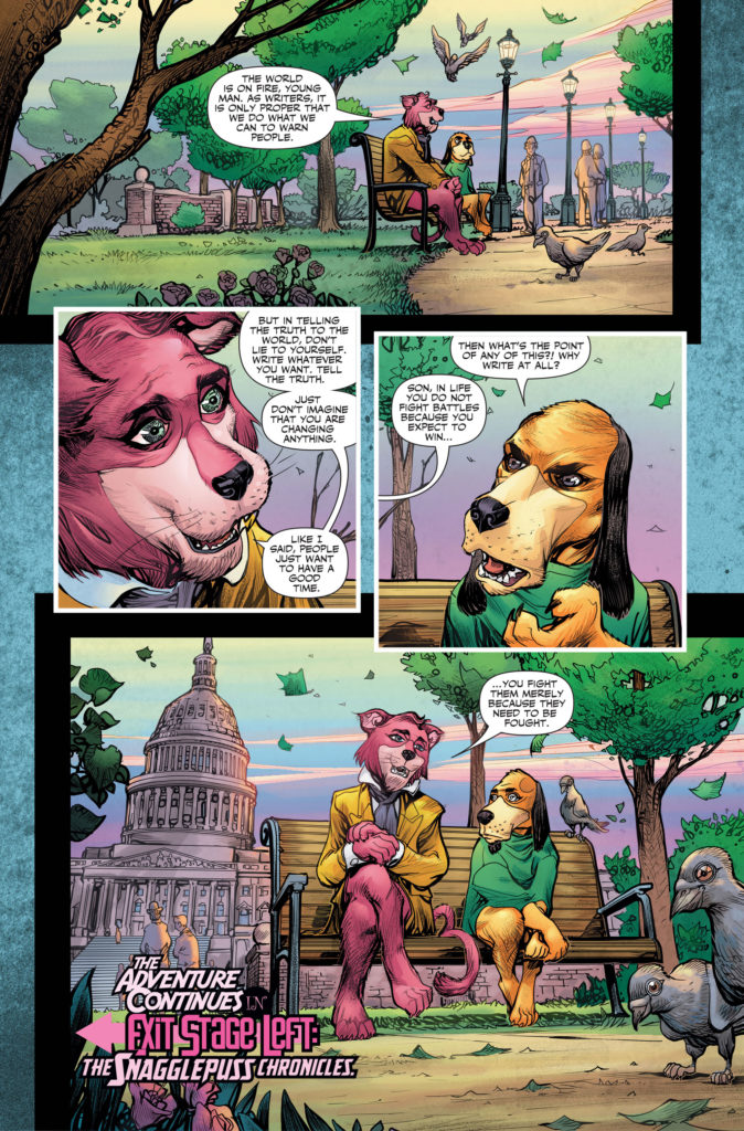 Credits: Writer Mark Russell with art by Howard Porter, Steve Buccellato (colors) and lettering by Dave Sharpe.